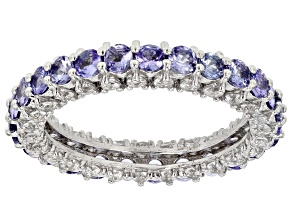 Blue Tanzanite Sterling Silver Eternity Band Ring 4.18ctw