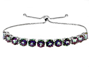 Green Mystic Topaz® Rhodium Over Sterling Silver Bolo Bracelet 10.20ctw