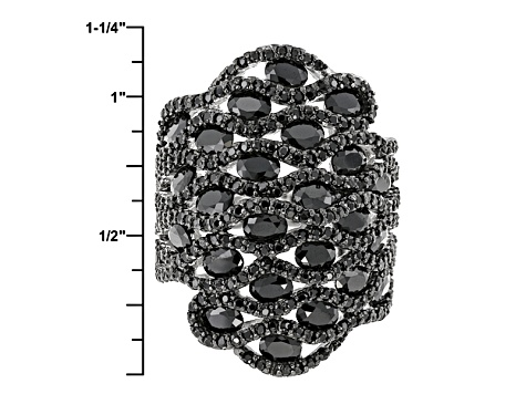 Black Spinel Sterling Silver Ring 9.07ctw