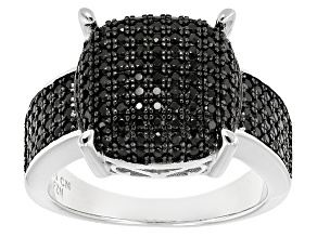 Black Spinel Sterling Silver Ring 1.20ctw
