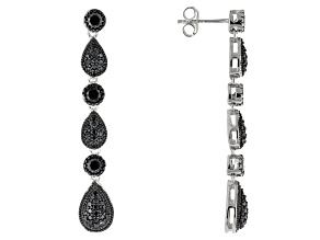 Black Spinel Sterling Silver Earrings 2.59ctw