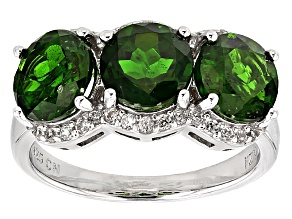 Green Russian Chrome Diopside Sterling Silver Ring 4.69ctw