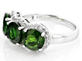 Green Russian Chrome Diopside Rhodium Over Sterling Silver Ring 4.69ctw