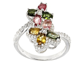 Multi-Tourmaline Sterling Silver Ring 2.15ctw