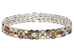Multi-Tourmaline Rhodium Over Sterling Silver Bracelet 22.00ctw