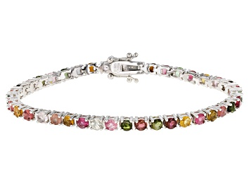 Picture of Multi-Tourmaline Rhodium Over Sterling Silver Bracelet 6.50ctw