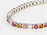 Multi-Tourmaline Rhodium Over Sterling Silver Bracelet 6.50ctw