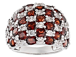 Red Garnet Sterling Silver Ring 8.85ctw