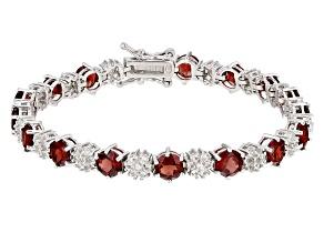 Red Garnet Rhodium Over Sterling Silver Bracelet 11.65ctw