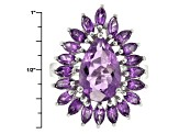 Purple Amethyst Sterling Silver Ring 6.90ctw