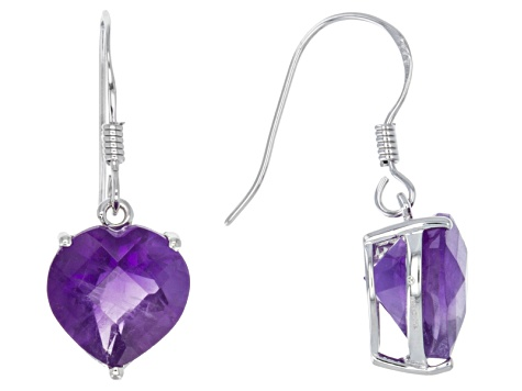 Purple African Amethyst Sterling Silver Heart Shape Earrings 5 50ctw