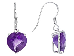 Purple African Amethyst Rhodium Over Sterling Silver Heart Shape Earrings 5.50ctw