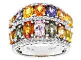 Multi-Color Sapphire Sterling Silver Band Ring 8.42ctw