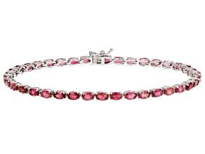 Pink Tourmaline Sterling Silver Tennis Bracelet 7.70ctw