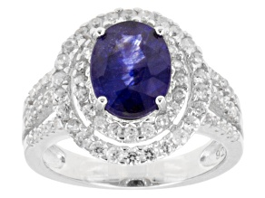 Blue Mahaleo(R) Sapphire Rhodium Over Sterling Silver Ring 4.00ctw