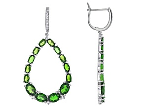 Green Chrome Diopside Sterling Silver Earrings 10.68ctw