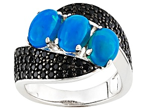 Blue Ethiopian Opal Sterling Silver Ring 2.51ctw