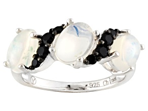 White Ethiopian Opal And Black Spinel Sterling Silver Ring 1.50ctw