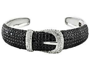 White Zircon Sterling Silver Buckle Hinged Cuff 15.25ctw