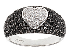 Black Spinel And White Zircon Sterling Silver Heart Ring 1.79ctw