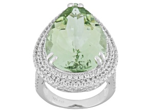 Green Prasiolite Sterling Silver Ring 22.08ctw