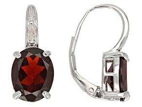 Red Garnet Rhodium Over Sterling Silver Earrings 5.64ctw
