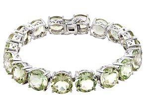 Green Prasiolite Rhodium Over Sterling Silver Bracelet 60.00ctw