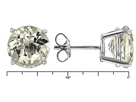 Green Prasiolite Solitaire Rhodium Over Sterling Silver Stud Earrings 6.00ctw