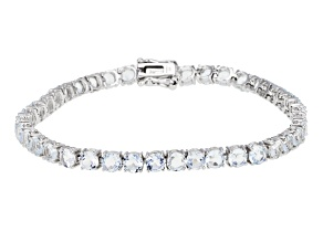 White Goshenite Rhodium Over Sterling Silver Tennis Bracelet 9.00ctw