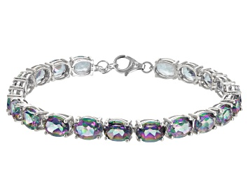 Picture of Multicolor Topaz Rhodium Over Sterling Silver Tennis Bracelets 28.00ctw