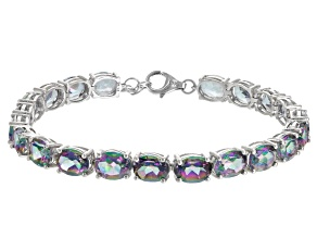 Multicolor Topaz Rhodium Over Sterling Silver Tennis Bracelets 28.00ctw