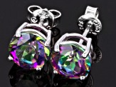 Green Mystic Topaz ® Rhodium Over Sterling Silver Stud Earrings 4.25ctw