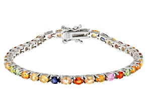 Multicolor Sapphire Rhodium Over Sterling Silver Tennis Bracelet 8.00ctw