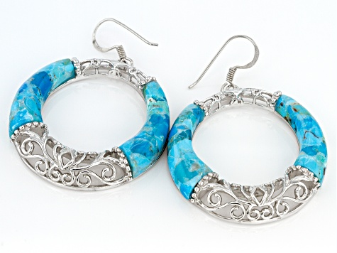 Blue Turquoise Rhodium Over Sterling Silver Dangle Earrings