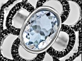 Blue Aquamarine Sterling Silver Ring 2.35ctw