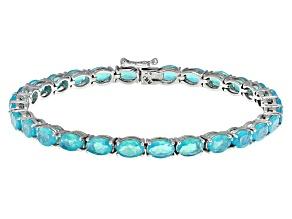 Blue Ethiopian Opal Sterling Silver Bracelet 7.23ctw