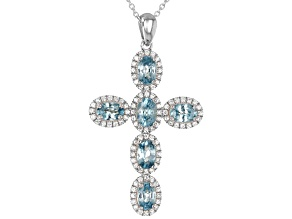 Blue And White Zircon Rhodium Over Sterling Silver Cross Pendant With Chain 5.60ctw