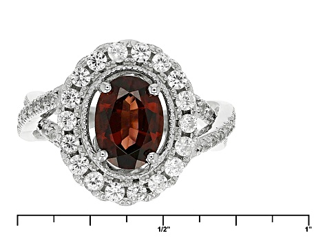 Red Zircon Sterling Silver Ring 2.85ctw