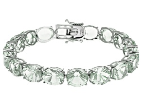 Green Prasiolite Rhodium Over Sterling Silver Tennis Bracelet 35.50ctw