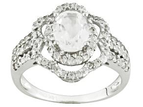 White Danburite Rhodium Over 14k White Gold Ring 2.45ctw