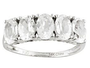 White Danburite 14k White Gold 5-Stone Ring 2.50ctw