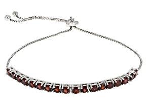 Red Garnet Rhodium Over Sterling Silver Adjustable Bracelet 2.70ctw