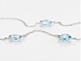 Blue Topaz Rhodium Over Sterling Silver Necklace 32.45ctw