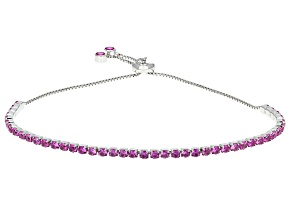 Lab Created Pink Sapphire Silver Adjustable Tennis Bracelet 3.17ctw