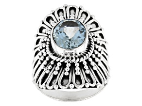 Blue Topaz Solitaire Sterling Silver Ring 3.00ct