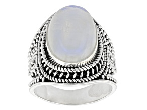 White Rainbow Moonstone Solitaire Sterling Silver Ring