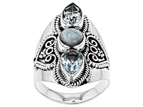 Blue Topaz Sterling Silver Ring 2.40ctw