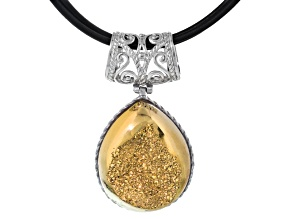 Golden drusy sterling silver pendant with triple strand leather cord