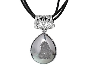 Gray Drusy Rhodium Over Sterling Silver Pendant Wtih Triple Stand Leather Cord