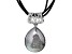 White Drusy Rhodium Over Sterling Silver Pendant Wtih Triple Stand Leather Cord
